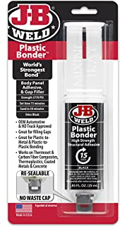 J-B Weld 50139 Plastic Bonder Body Panel Adhesive and Gap Filler Syringe - Black - 25 ml