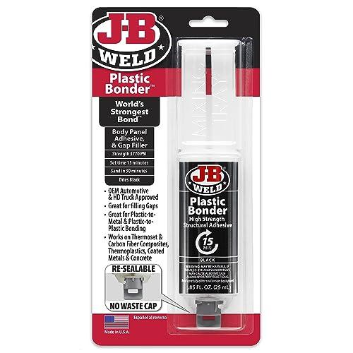 J-B Weld 50139 Plastic Bonder Body Panel Adhesive and Gap Filler Syringe - Black - 25