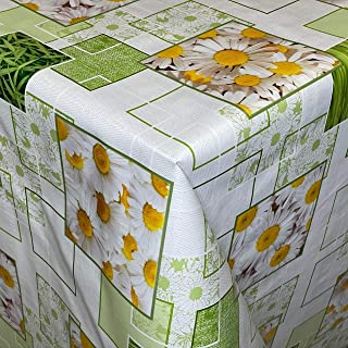 KEVKUS Nappe de Table en Toile Cirée 01381-01 Printemps Pâquerette Fleurs Vert Blanc Carré Rond Oval - Bariolé, 120 x 160 ...