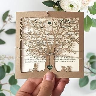 PARTECIPAZIONI INVITI matrimonio Albero della vita, fai da te rustiche shabby chic SET anniversario, DIY carta kraft tagli...