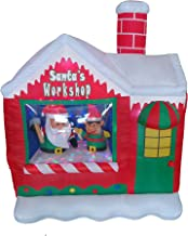 5 Foot Christmas Inflatable Santa Claus Elf Workshop with Color LED Lights Yard Decoration