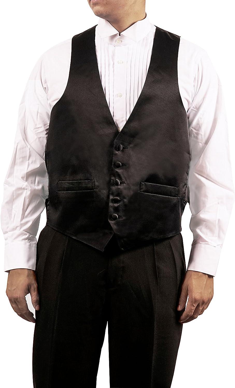 Broadway Tuxmakers Men's Black 5 Button Shiny Dress Vest Black for Suit Separate or Tuxedo