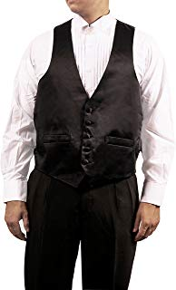 Men's Black 5 Button Shiny Dress Vest Black for Suit Separate or Tuxedo