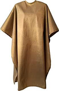 JNxcel Premium Quality Water Repellent Nylon/Polyester Fabric Hair Salon & Barber Hair Cutting & Shampoo Cape with Snap Closure (Gold)