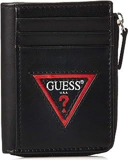 GUESS Men's Gusseted Half Zip Wallet, Black - 31GUE20039
