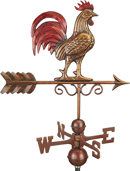 Good Directions 1975RED Bantam Red Rooster Weathervane Pure Copper Hand Finished Multi Color Patina
