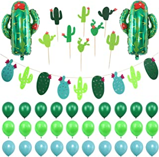 Simla Decor Cactus Party Decorations Set - Cactus Foil Balloons Baby Shower Cactus Felt Bunting Banners Garland Succulent Cactus Cupcake Toppers