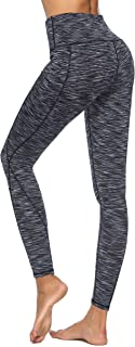 Hibbent High Waist Yoga Pants Sports Leggings with Out Pocket Power Flex Women Tummy Control Workout Running Tights- Black Space Dye