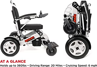 Porto Mobility RANGER QUATTRO Ultra Exclusive Lightweight Foldable Electric Wheelchair Lighter, Stronger, Taller Wider, Longer Range, Super Horse Power Dual Motorized Portable Folding Power Wheelchair