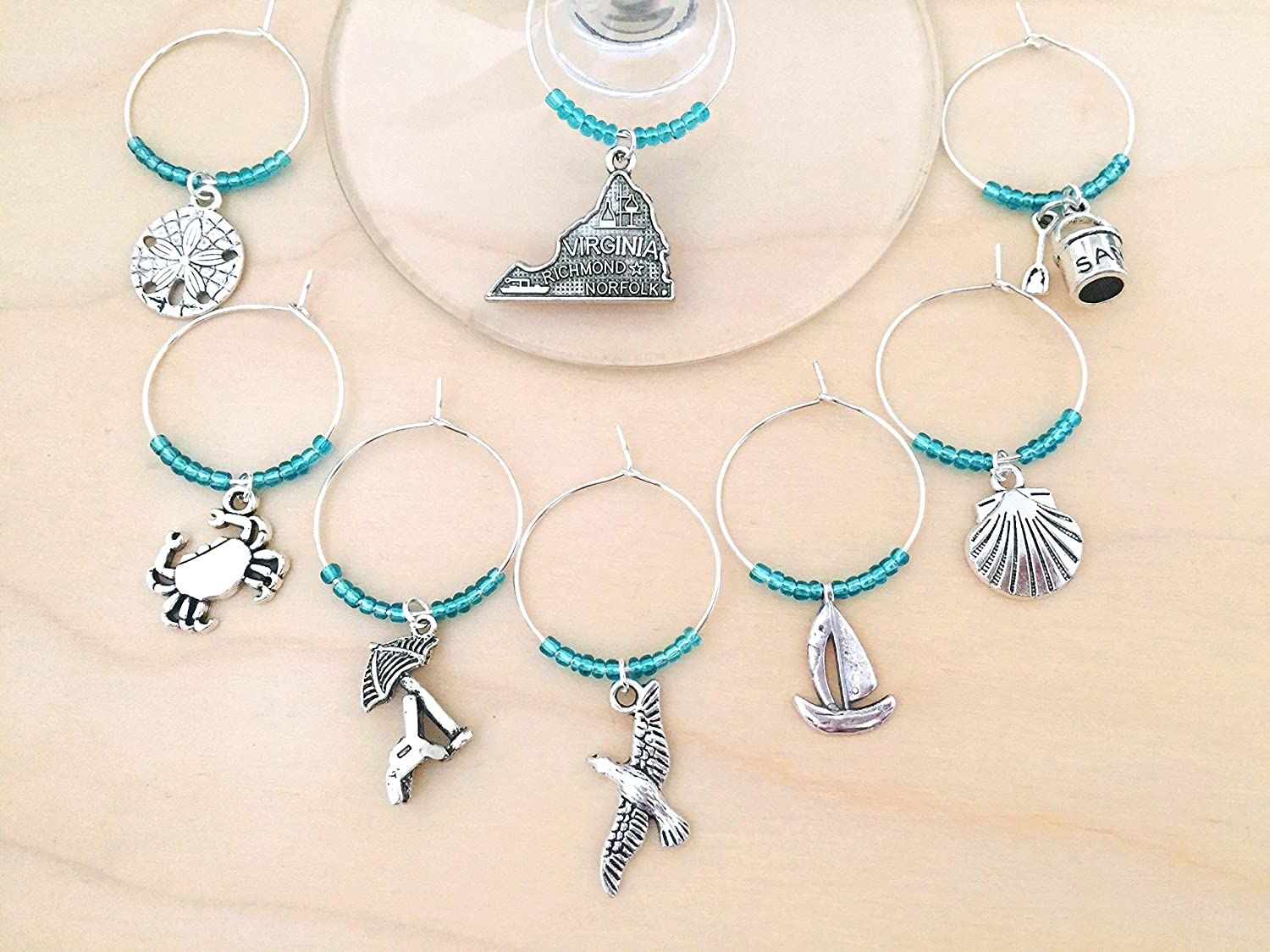 SALE Virginia Beach 5% OFF Themed Wine Charms Gift for Virginian bea Dealing full price reduction