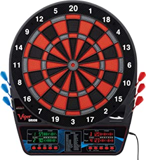 Viper Orion Electronic Dartboard, Two Large Scoreboards, Dual Color LCD Cricket Displays, Voice Scoring, Red Black and Silver Segments, Built in Storage for Darts and Tips, 43 Games 300 Options
