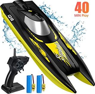 SYMA RC Boat for Kids, Q9 Remote Control Boat for Pool and Lake with 2.4GHz 10km/h Speedboat, Double Power, Low Battery Reminder, Speed Boat Remote Control Toy Gifts for Kids or Adults