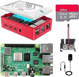 Raspberry Pi 4 8Go, Raspberry Pi 4 Modèle B 8 Go Kit avec 128 Go Carte Micro SD Classe 10, Premium Boîtier, Dissipateur Mo...