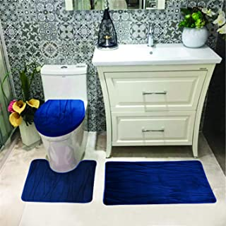 Luxury Home Collection 3 Pc Bath Rug Set Memory Foam Non-Slip Bathroom Rug Contour, Mat and Toilet Lid Cover Solid New (Navy Blue)
