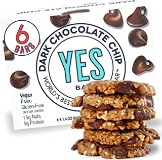 Yes bar – Dark Chocolate Chip – (6Count) Plant Based Protein, Decadent Snack bar – Vegan, Paleo, Gluten Free, Low Sugar, Healthy Snack, Breakfast, On-The-Go, for Kids & Family
