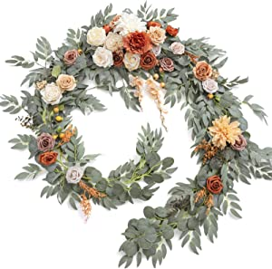 Ling's moment 9FT Eucalyptus and Willow Leaf Garland with White Flower, Handcrafted Wedding Sweetheart Table Centerpieces Head Table Decor Arch Backdrop Decorations for Wedding | Terracotta