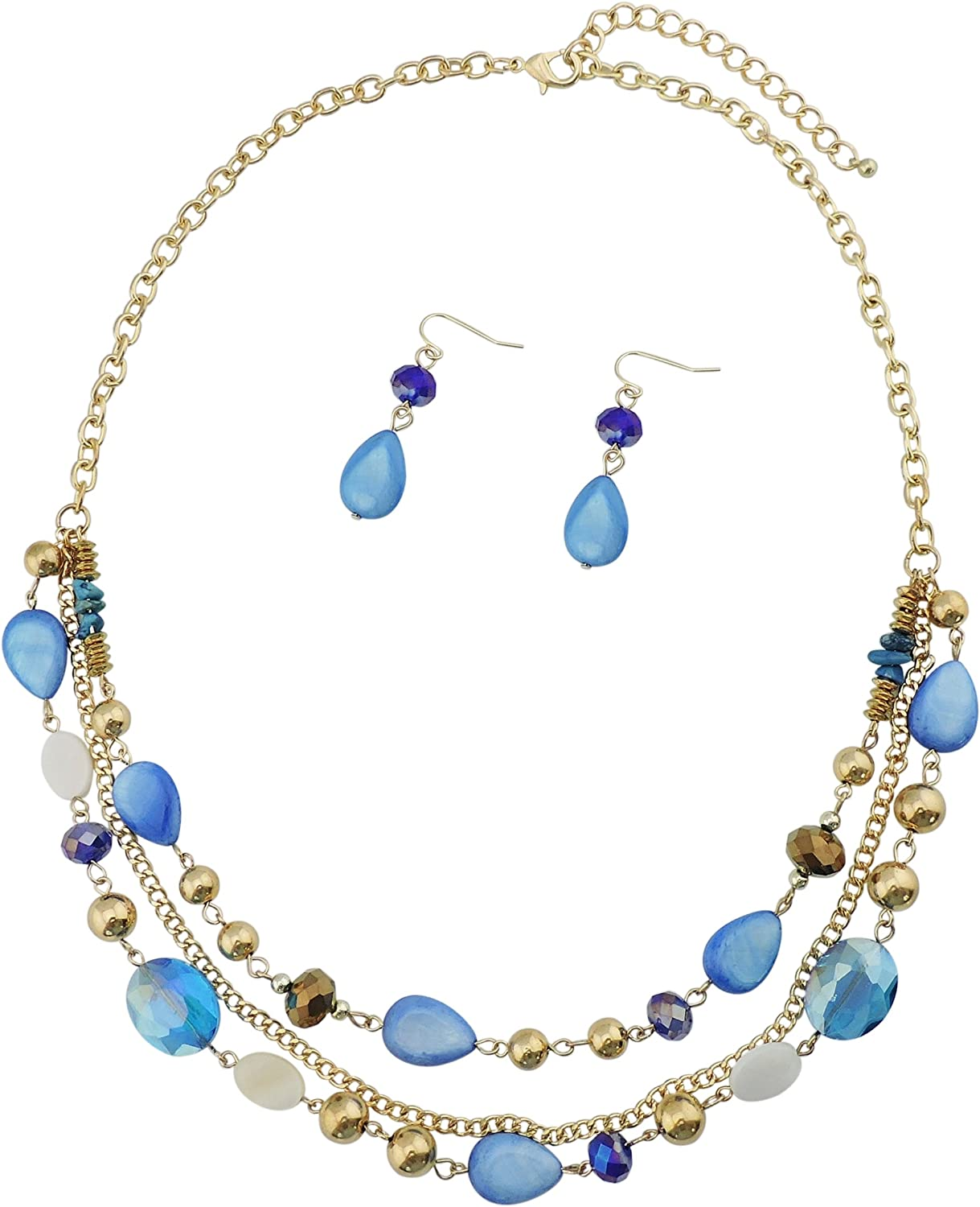 Bocar Multilayer Colored Glaze Shell Beads Statement Women Chain Necklace (NK-10060)
