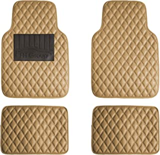 FH Group F12002 Luxury Universal All-Season Heavy Duty Faux Leather Car Floor Mats Stripe Design w. High Tech 3-D Anti-Skid/Slip Backing, Beige Color