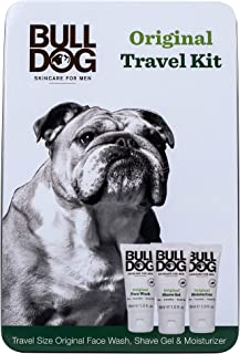 Bulldog Mens Skincare & Grooming Original Mini Travel Tin Set Including: 1 Oz Facial Moisturizer, 1 Oz Face Wash & 1 Oz Shave Gel