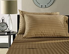 ADDY HOME FASHIONS Damask Stripe 100% Supima Cotton 500 Thread Count Hotel Quality Supima Luxury Cotton Sateen Deep Pocket Super Soft Sheet Set, Queen - Taupe