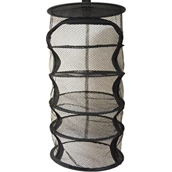 9 Inch 5 Level Micro Hanging Dry Net Indoor/Closet Drying Rack for Herbs, Organizer, Freshner - Black Mash Screen with Top-to-Bottom Zipper - Apartment Size with Zipped Storage Pouch