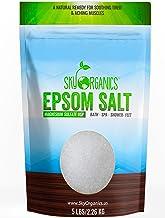 Epsom Salt by Sky Organics (5 lbs.) - 100% Pure Magnesium Sulfate USP Grade Kosher Non-GMO – Bath and Foot Soak Soothing B...