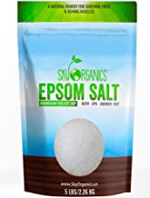 Epsom Salt By Sky Organics (5 LBS) 100% Pure Magnesium Sulfate-Natural, USP Grade, Kosher, Non-GMO – Laxative, Muscle Tension Relief, Foot soak, Soothe Aches, Cleanses Skin. Made in USA (1 Pack)
