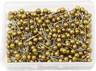 VAPKER 1/8 Inch Map Tacks Round Plastic Head Push pins with Stainless Point(Box of 300 Gold Color pins)