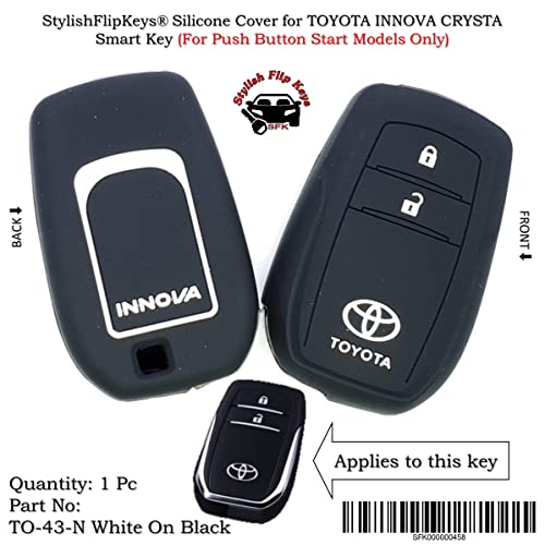 StylishFlipKeys® Silicone Key Cover for Toyota Innova Crysta 2016 (for Push Button Smart Key only) (TO-43-N-White-On-Black)