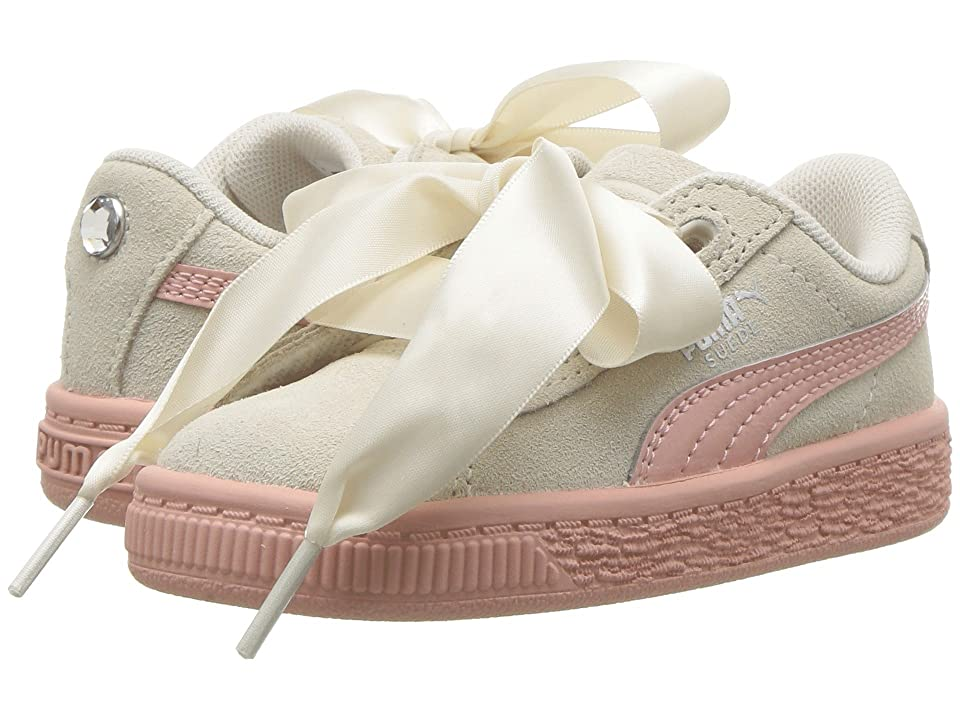 Puma Kids Suede Heart Jewel (Toddler) (Whisper White/Peach Beige) Girls Shoes