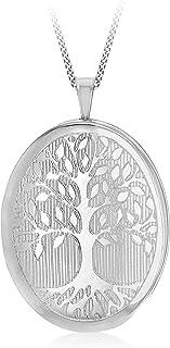 Tuscany Silver 女式 925 纯银镀铑 19.5 mm 生命树小盒吊坠 25 PG Panza Curb 长 46 cm/18 英寸