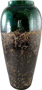 Lifestyle & More Déco Moderne Vase Fleur Vase Sol Vase en céramique Turquoise Vert et Marron Hauteur 60 cm