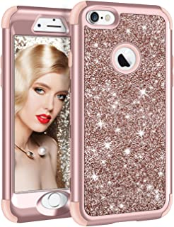 iPhone 6S Plus Case, Vofolen iPhone 6 Plus Case Glitter Bling Shiny Heavy Duty Protection Full-body Protective Hard Shell Hybrid Rubber Bumper Armor + Front Cover for iPhone 6 Plus 6S Plus - Rose Gold