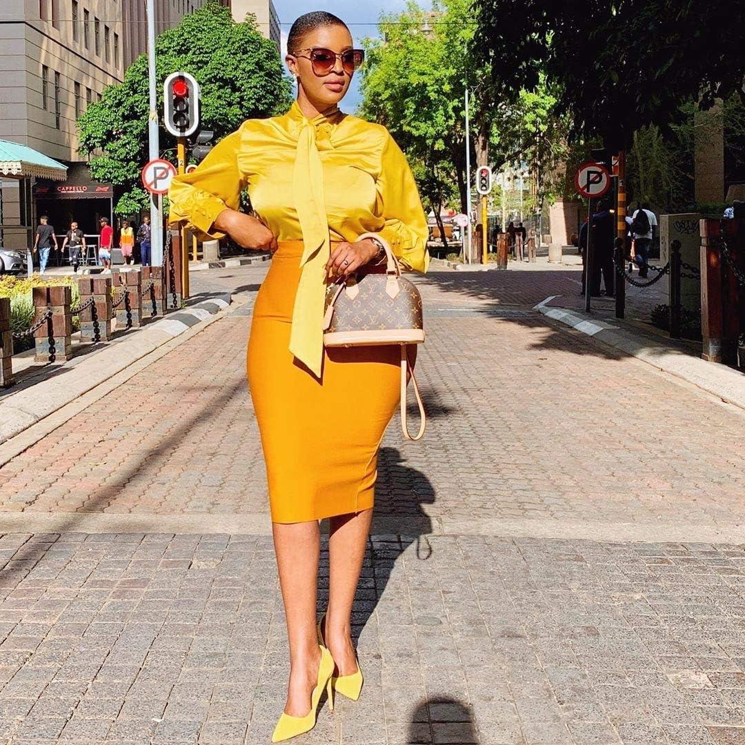 ZWLXY Women's Dress Long Sleeve Bow Colorblock Slim Bodycon Business Pencil Dress,Yellow,XXL