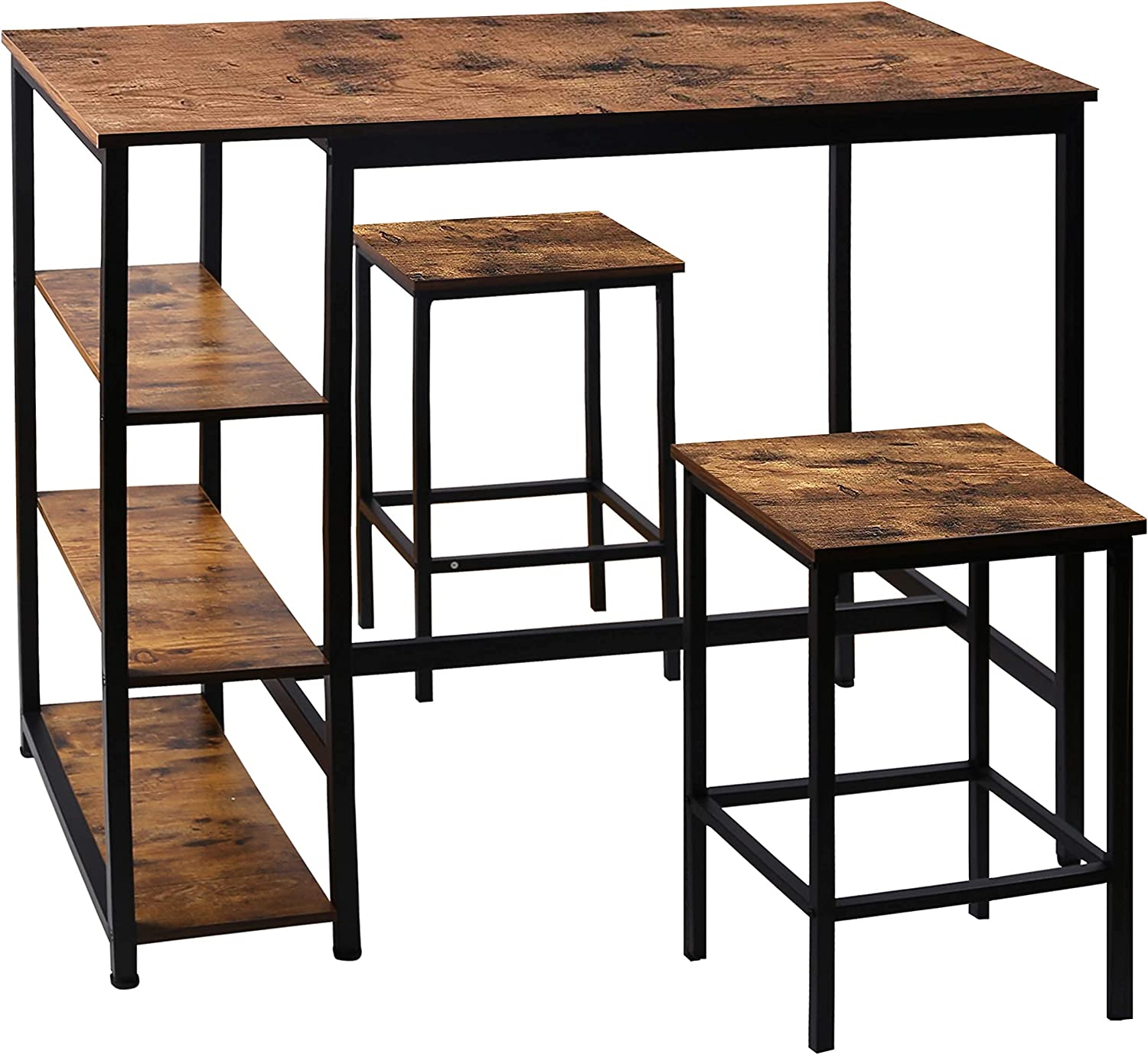 VEIKOUS Elegant Ranking TOP19 Dining Table Set with Shelves Open 3 Storage Industrial