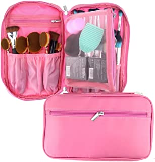 TraderPlus Portable Cosmetic Bag Makeup Brushes Organizer Makeup Artist Case with Belt Strap Holder Multifunctional Makeup Handbag for Travel (Pink)