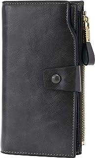 WOZEAH Women's RFID Blocking Large Capacity Luxury Wax PU Leather Clutch Wallet Card Holder Organizer Ladies Purse (gark g...
