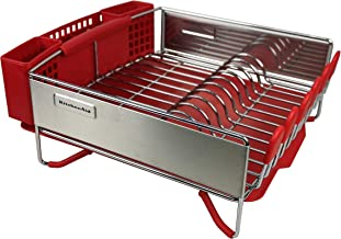 """KitchenAid Dish Drying Rack Space-Saving Compact Design Size: 13""""x14"""" New Corrosion Resistant Technologyr Red"""