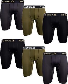Reebok Men's Compression Long Leg Performance Boxer Briefs (6 Pack), Black/Winter Moss/Cold Grey, Medium