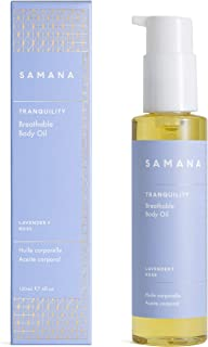 100% Natural Body Oil | TRANQUILITY Lavender + Rose | Relax + Destress | 98% Certified Organic Blend of Coconut, Grapeseed, Olive Oils for Skin, Hair, Hand, Cuticle | SAMANA Breathable Body Oil 4 oz