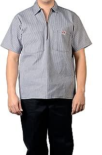 Short Sleeve 1/2 Zip Shirt 175 Brown Stripe Large