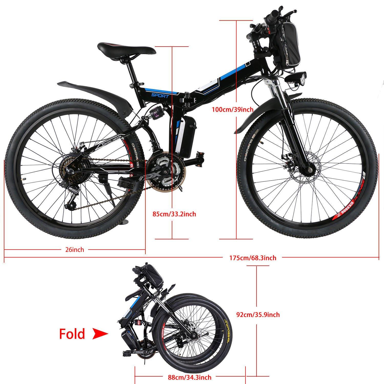 AMDirect Bicicleta de Montaña Eléctrica Bici Plegable Ebike con Rueda de 26 Pulgadas Batería de Litio de Gran Capacidad 36V 250W 21 Velocidades Suspensión Completa Premium y Engranaje Shimano (Negro): Amazon.es: Deportes