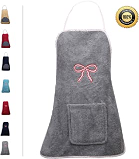 Abstract Terry Cloth Apron with Convenient Pocket Durable Stripe Kitchen and Cooking Apron for Women/Men Professional Stripe Chef Apron for Cooking, (Gray - Bow Embroidery, Terrycloth)