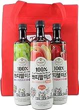 Korean CJ Petitzel Fruit Vinegar Drink Concentrate, 3 Bottle Set: Peach, Pomegranate and Grape, 91 Fl Ounces