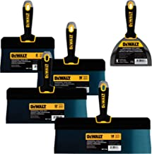 "DEWALT Blue Steel Big Back Taping Knife 4-Pack + FREE BONUS 6"" Soft Grip Putty Knife   8/10/12/14-Inches   Soft Grip Handl..."