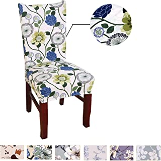 Argstar 2 Pack Chair Covers, Stretch Armless Chair Slipcover for Dining Room Seat Cushion, Spandex Kitchen Parson Chair Protector Cover, Removable & Washable, White Spring Flower Design