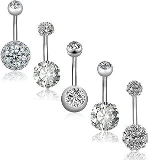 REVOLIA 5Pcs 14G Stainless Steel Belly Button Rings for Women Girls Navel Rings CZ Body Piercing