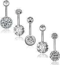 REVOLIA 5Pcs 14G فولاد ضد زنگ فولاد ضد زنگ حلقه دکمه برای زنان دختران حلقه نایلون CZ سوراخ کردن بدن