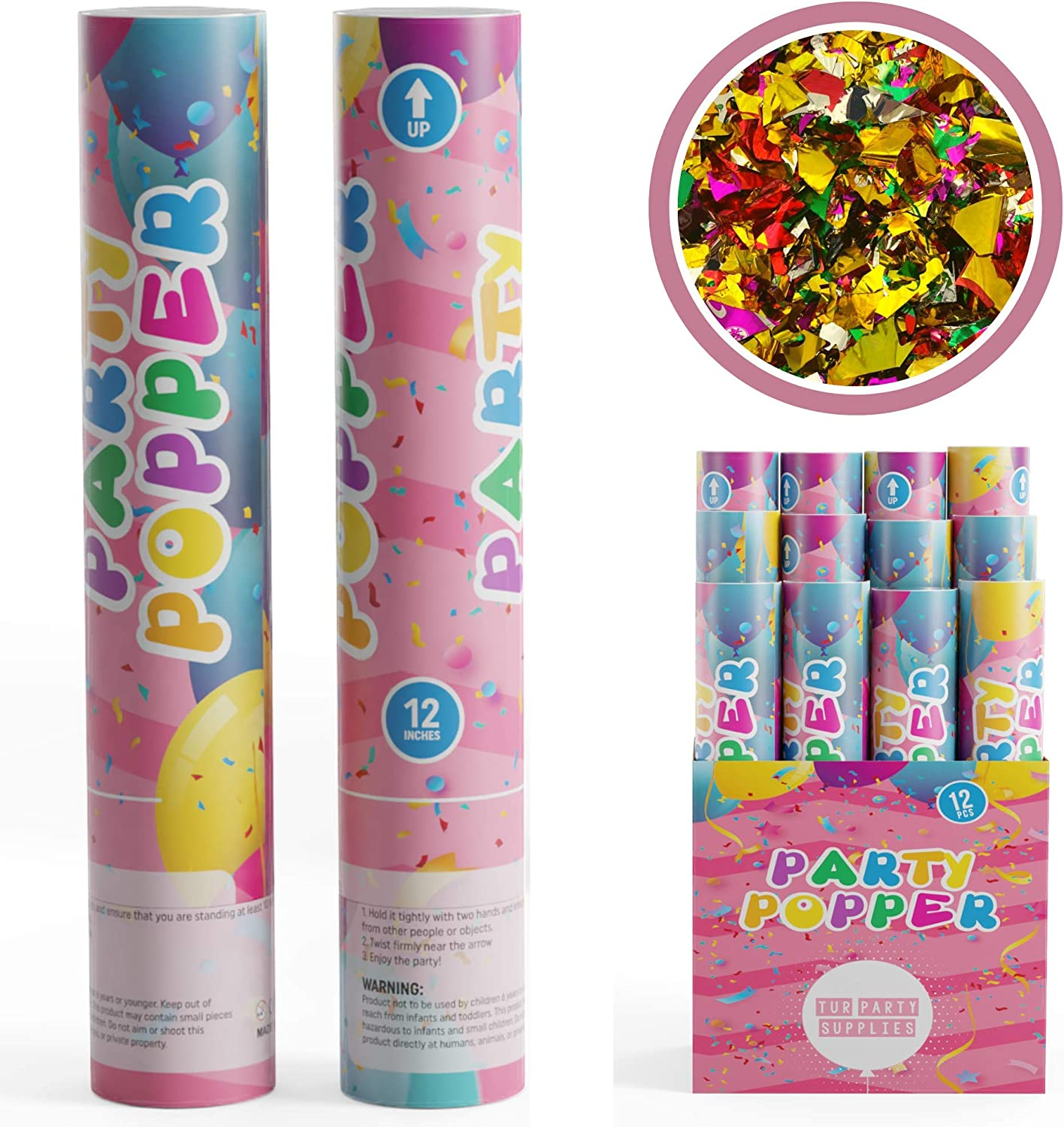 TUR Party Supplies Confetti Cannons Party Poppers (12 Pack)   Mu