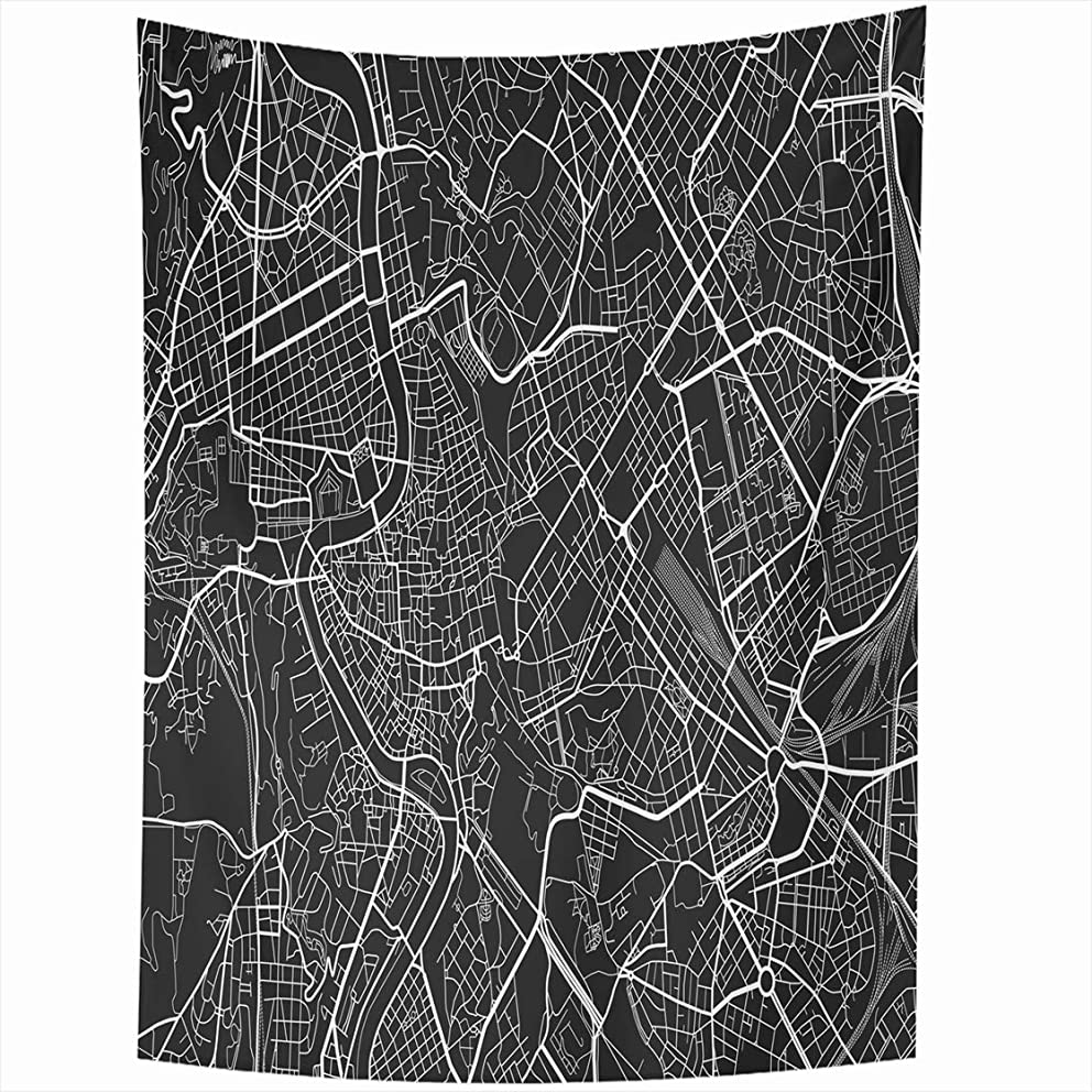 AlliuCoo Wall Tapestries 60 x 80 Inches Gray Road Black White City Map Rome Well Organized Separated Layers Topography Street Home Decor Wall Hanging Tapestry Living Room Dorm